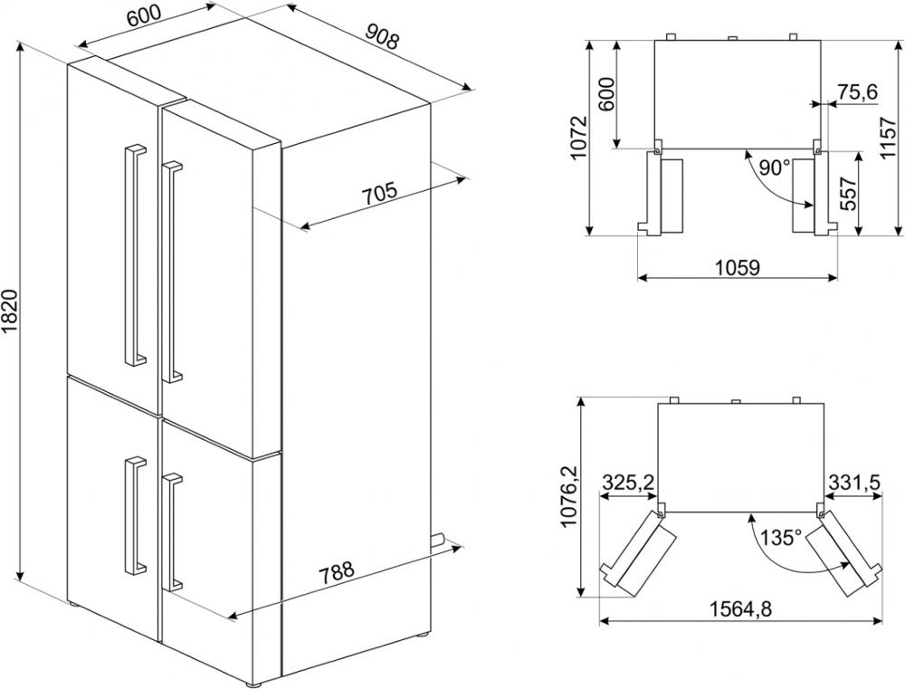 Холодильник SMEG FQ60BDF - 1